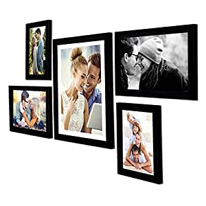 Art Street - Set of 5 Individual Black Wall Photo Frames Wall Hanging (Mix Size)(2 Units 5x7, 2 Units 6X10,1 Unit 10X12 inch)   Free Hanging Accessories Included   