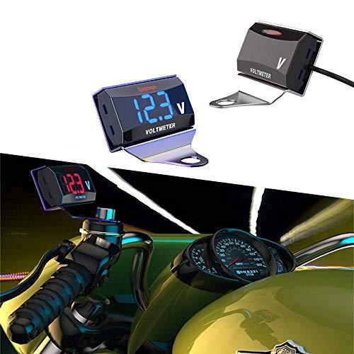 CHUDAN LCD Motorrad Digitaltacho Auto-Multifunktion Digitalvoltmeter Auto Motorrad Allzweck Spannungserkennungstabelle,Greenlight