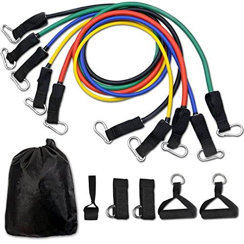 set di fasce di resistenza, cuxus bande di resistenza, 5 bande elastiche in lattice con maniglie, gancio per fissaggio alla porta & cinghie puntapiedi e borsa, per attrezzi da fitness, yoga, pilates
