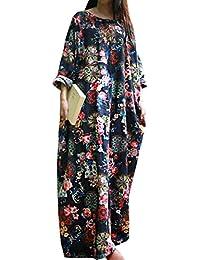 WOZNLOYE Frühling und Herbst Damen Casual Locker Blumen Kleid Strandkleider  Blusenkleider Mode Rundhals Langarm Kleider Maxikleid 0584c9babc