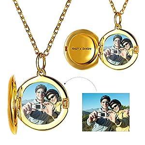 Custom4U Personalisierte Produkte Damen Herz Halskette 925 Silber Kette mit Rund Anhänger Gravur Geschenkidee Weihnachtag