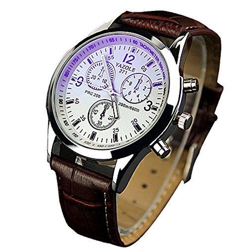 Chianrliu orologio con cinturino in ecopelle, blue ray, con vetro, al quarzo, analogico, da uomo, marrone