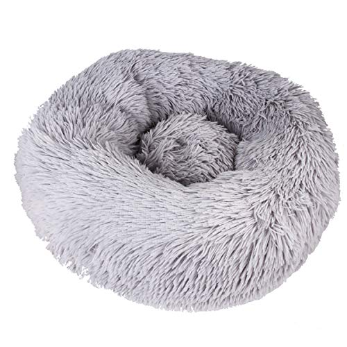 Pet Calming Bed,Bed Round Nest Warm Soft Plush Comfortable Kitten Bed Warm...