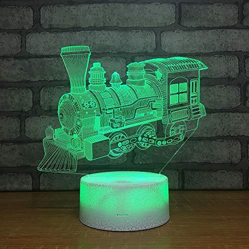 Yoppg 3D Illusion Lampe Led Nachtlicht Touch-Schalter 7 Farben Schreibtisch Optische Illusions Lampen Usb Or Batterie Betrieben Kind Weihnachtsgeschenk Schienenfahrzeug