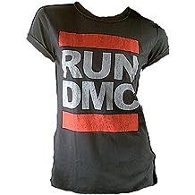 Amplified Damen Lady T-Shirt Grau Holzkohle Charcoal Anthrazit Official RUN DMC Merchandise Logo Hip Hop Rap 80 er Rock Star Vintage Nähte Aussen ViP Rockstar