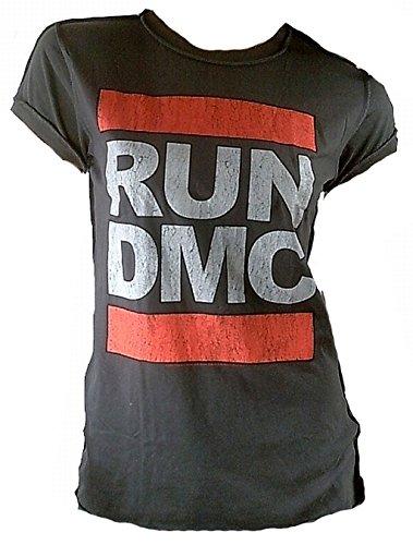 Amplified Damen Lady T-Shirt Grau Holzkohle Charcoal Anthrazit Official RUN DMC Merchandise Logo Hip Hop Rap 80 er Rock Star Vintage Nähte Aussen ViP Rockstar XL 44 (Hip-hop-holzkohle)