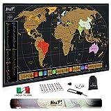 Mappa del Mondo da Grattare MuP - Design Italiano Grande Cartina Geografica Panoramica - Idee Regalo Viaggiatori Poster Mappamondo Planisfero A Graffio - Arredo Parete Scratch The Original World Map