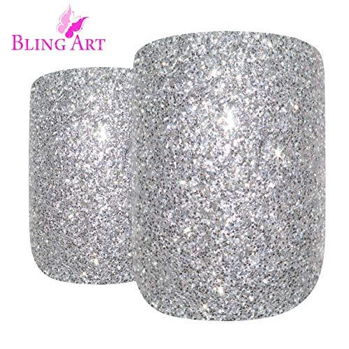 Faux Ongles Bling Art Argent Gel 24 Squoval Moyen Faux bouts d'ongles acrylique avec de la colle