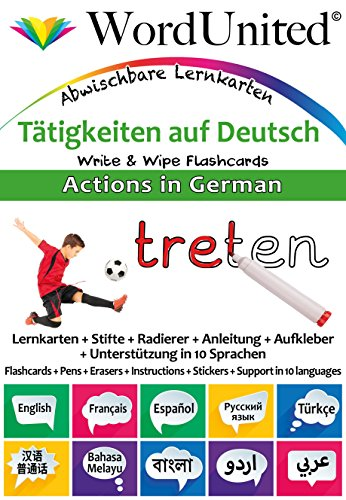 Actions in German: Write & Wipe Flashcards - Flashcard Ds