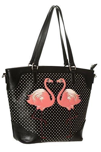 Banned Apparel' Blair 'Flamingo gepunktet Vintage Retro Schulter Handtasche - Schwarz, Einheitsgröße