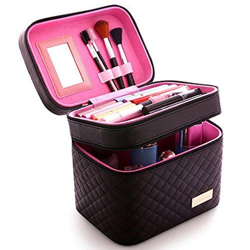 Femmes Cosmétique Boîte Designer Haute Qualité Portable Cosmétique Sac Grande Capacité PU Cosmétique Sac Femmes Maquillage Sacs (Noir)