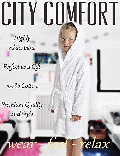 CityComfort Bambini Vestaglia Bambini Ragazzi Ragazze con Cappuccio Asciugamano in Spugna 100% Cotone Asciugamano in Spugna Accappatoio Morbido Asciugamano Salotto 7-13 Anni (13, Bianco)