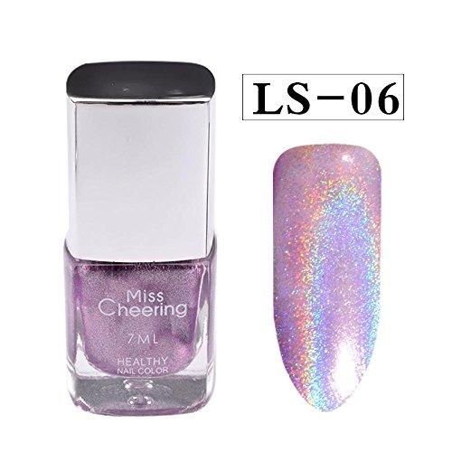SMILEQ Diamond Laser Nail Polish Pretty Shiny Mirror Glitter Nail Art Holographic Long Lasting Nail Polish 1 Bottle 7 ML (F)