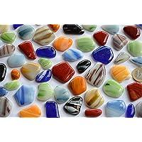 300g (ca.50 St.) unregelmäßige Glas Mosaiksteine marmoriert bunt a 2-4cm frostsicher