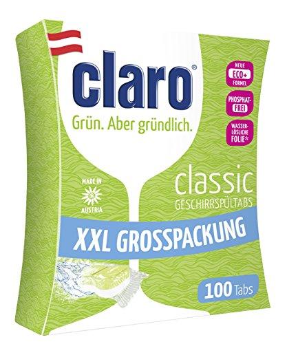 claro Classic XXL - 100 Stück phosphatfreie Öko Spülmaschinentabs im Sparpaket Tabs