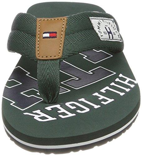 Tommy Hilfiger Herren Essential TH Beach Sandal Zehentrenner Grün (Jungle Green 300)