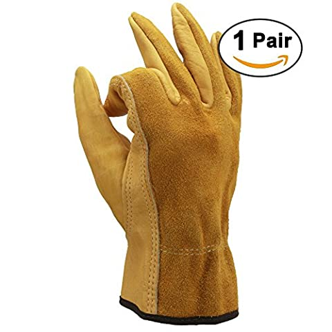 OZERO Working Gloves, Geniune Cowhide Work Glove with Elastic Wrist for Men & Women - Durable and Sweat-absorbing for Using in Industry/Construction/Garden/Motorcycle - Yellow (1 Pair/Extra