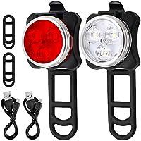 Set di fari per bicicletta, Afunta, con luce LED ricaricabile con 4 modalità di lampeggiamento, 2 cavi USB e 4cinghie, bianco e rosso