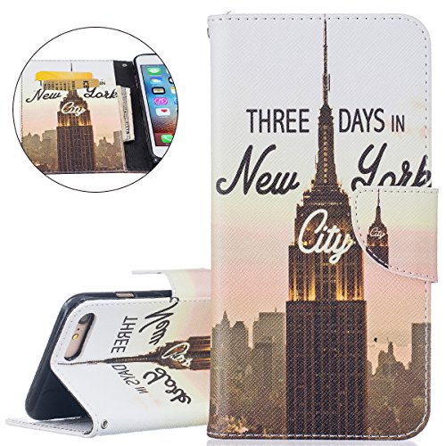 Hülle für iPhone 7 Plus, Tasche für iPhone 7 Plus, Case Cover für iPhone 7 Plus, ISAKEN Malerei Muster Folio PU Leder Flip Cover Brieftasche Geldbörse Wallet Case Ledertasche Handyhülle Tasche Case Sc New York