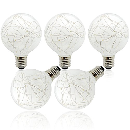 G953W E27Warm White Bulb (5Pakete) Edison LED Bulb Energiesparend von Globe Ball für Patio Cafe Market Veranda Party Pavillon Wedding Courtyard -