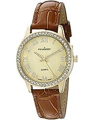 El cristal de las mujeres Peugeot correa de cuero reloj de pulsera de oro de bisel