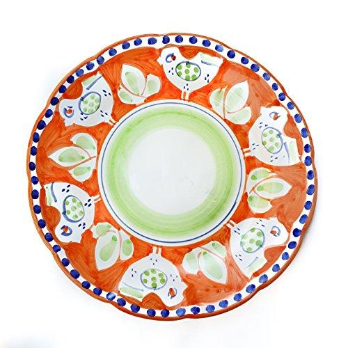 L'eclisse ceramiche artistiche Coppia Piatti di Ceramica di Vietri Decorato a Mano Made in Italy Arancio e Verde