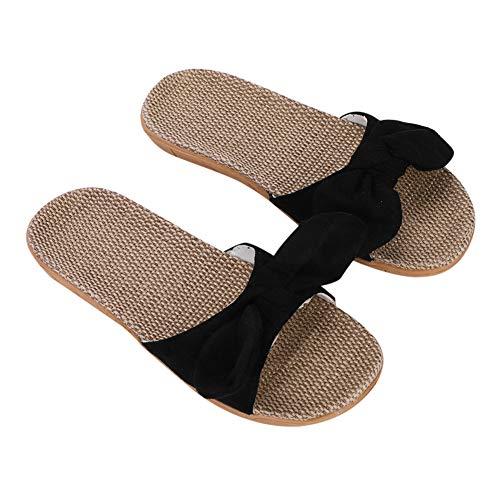 IBLUELOVER Pantoufles Femmes Sandales Plage Été Antidérapantes Chaussons en Lin Chaussures Salle de Bain Piscine Maison Bureau Mules Nu Pieds Respirant Slipper Pas Cher extérieure/intérieu