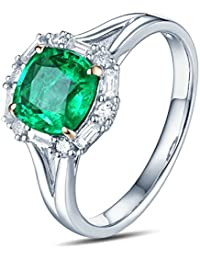 Epinki 18k Oro Anillos para Mujer Cuadrado Anillo Solitario Anillos de Compromiso con Blanco Verde Diamante