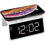 Think Gizmos Wecker Digital - Digitaler Wecker mit Qi Kabellosem Ladegerät - Dimmbares Display - 2 Alarm-funktionen und Farbwechselndem Nachtlicht - TG809 - Weiß