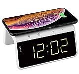Think Gizmos Sveglia Digitale da Comodino Wireless con Pad Qi di Ricarica - Sveglia da Comodino Senza Fili con 2 Allarmi - Orologio Digitale Moderno con Luce Notturna Cangiante - TG809 - Bianca