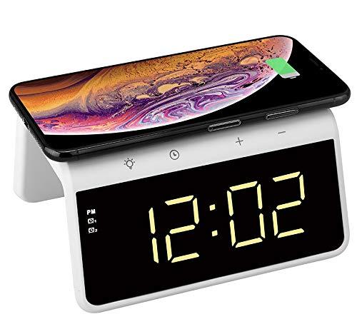 Think Gizmos Reloj Despertador Digital con Cargador Inalámbrico Qi Incorporado - Pantalla de Brillo...