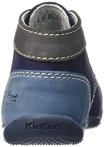 Kickers Baby Jungen Bonbon Lauflernschuhe, Grau, Einheitsgröße Bleu (Marine/Gris/Bleu)