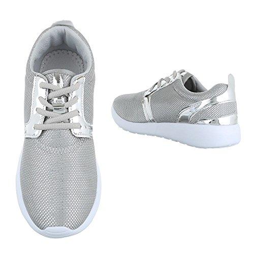 Sneaker Ital-design Sneaker Basse Da Donna Sneakers Basse Con Lacci Scarpe Casual Argento 6230-y