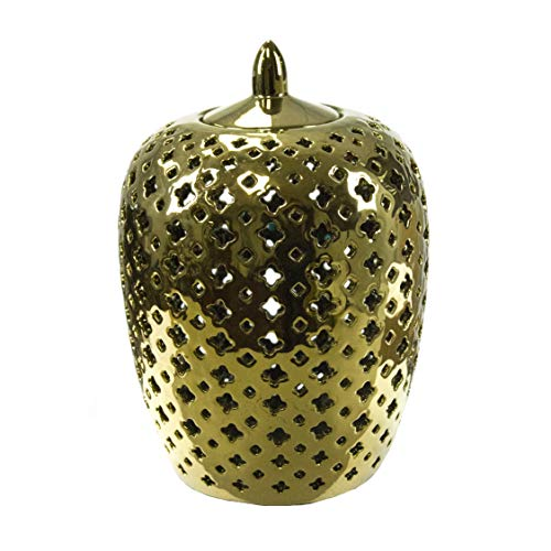 Benzara BM187995 Ceramic Texture Covered Jar with Pointed Top Lid, Gold Covered Jar