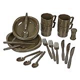 Black Snake Camping Geschirrset 26 tlg. bruchfestes Outdoor Geschirr und Besteck Set - Oliv