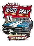 aubaho Blechschild Wandschild Highway Route 66 Auto Nostalgie Antik-Stil 74cm Magnettafel Pinwand