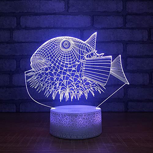 3d Lampe Nachttischlampe Nachtlicht Kugelfisch Tier LED Lampe fürs Wohnzimmer Kind Geschenk with Acryl Panel Usb Kabel 7 Farben ändern Base,Remote and touch Vision Flat Panel