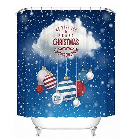 KKLL Shower curtain Christmas Home Personality Decoration Bathroom Waterproof mildew Semi shade curtain , 200*180cm