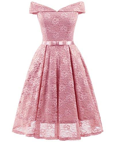 Glamour Spitze V-Ausschnitt Armlos Abendkleider Cocktailkleider Partykleider Tanzenkleider Kurz-XXL-Rosa (Ballkleider)