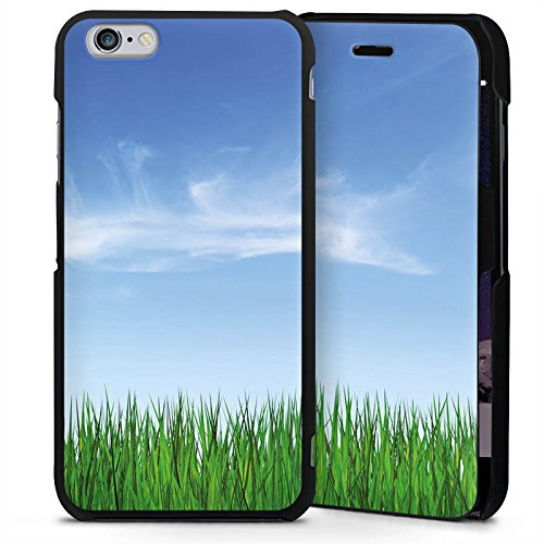 Apple iPhone 6 Plus Handyhülle mit Klappfunktion schwarz Lederhülle Flip Case Wiese Horizont Gras