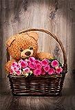 YongFoto 1x1,5m Vinyl Foto Hintergrund Cartoon frische Rosenblüten Schöne Bär Holzboden Fotografie Hintergrund für Fotoshooting Portraitfotos Party Kinder Hochzeit Fotostudio Requisiten