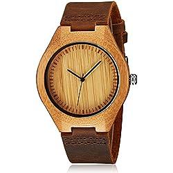 cucol Herren Uhren aus Holz Braun Rindsleder Lederband Casual Uhr für Groomsmen Vatertag Geschenk