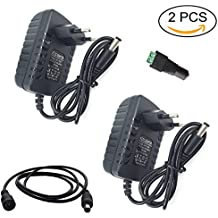 Eleidgs 2 PCS 80-240V AC / DC 12V 2A Adaptador Convertidor Cargador de Fuente de Alimentación Enchufe de la UE para Tiras LED + DC Macho Conector + 1m/3,3ft DC Cable de Extensión