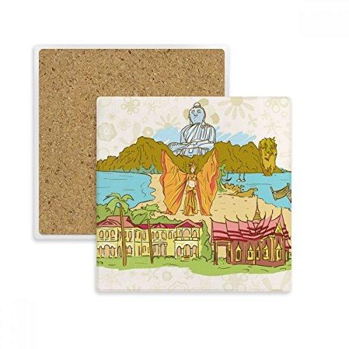 DIYthinker Buddhismus Religion Buddhist Temple Zeichen Platz Coaster-Schalen-Becher-Halter Absorbent Stein für Getränke 2ST Geschenk Mehrfarbig