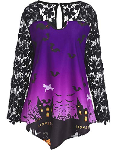 Damen Bluse Elegant Teenager Mädchen Halloween Kürbis Schloss Drucken Spitze Patchwork Oberteile Asymmetrische Shirts Lässige Top Herbst Hemd Pullover Tunika Langarmshirts Pulli (Lila, 4XL) -