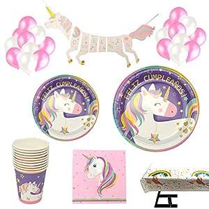 Decoraciones Unicornio y vajilla Rosa