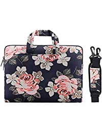 MOSISO Rose Pattern Laptop Shoulder Handbag for 11.6-13 Inch MacBook Air, 2017/2016 MacBook Pro(A1706/A1708), Surface Pro 2017, Surface Pro 4/3 Canvas Messenger Case Sleeve, Dark Blue