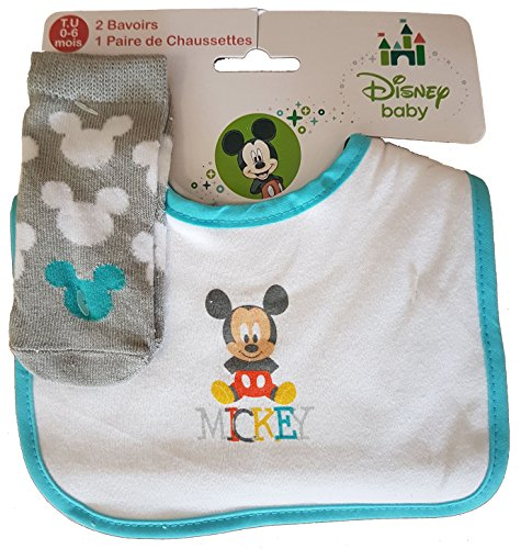 f868b7c7b05a Bavoirs Velcro DISNEY 2 Bavoirs + 1 Paire de Chaussettes (mickey baby)