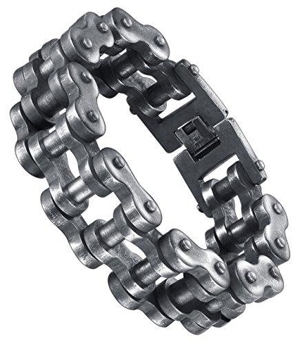 Aoiy Herren-Armband, Edelstahl, Gro§ und Schwer Motorradfahrer Fahrradkette, Rotgussfarbe, ccb079wu