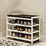Schuhregal Everyday Home Ändern Sie Schuh-Bank- / Schuh-Bank-einfacher Portal-Schemel-Eisen Multifunktionssofa-Bank-Last 200kg 3 Farben optional (Farbe : Weiß)